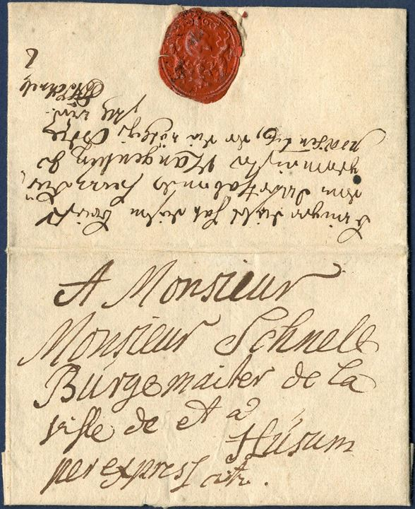 Express letter sent from Flensburg 1 October 1749 to Husum with full contents.