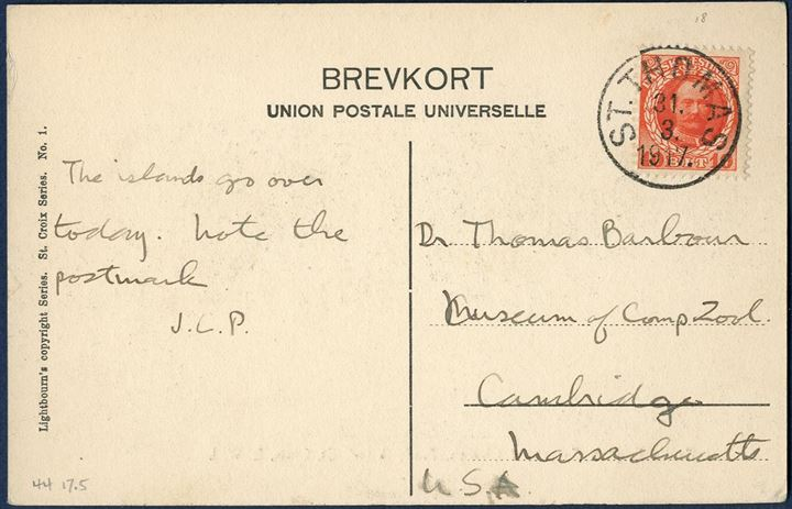 Transition period 1917. Two postcards from the same sender and to the same addressee, sent with a DWI stamp the last day 31 March and with US stamp the 2 April 1917, very interesting and historical post cards.