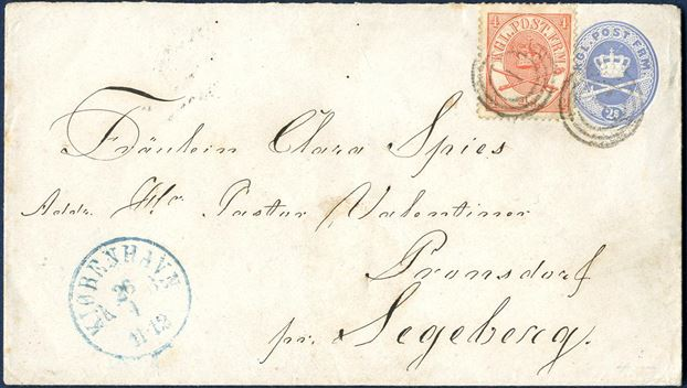 "2S stationery envelope sent from Copenhagen to Pronsdorf, Segeberg on 26 April (1866 ?) uprated with 4 sk. Crown-Scepter-Sword 1864-issue tied by numeral ""1"" Copenhagen alongside blue CDS ""KJØBENHAVN KB 26/4 11-12"". Rate to Northern Germany at favored 6 sk. rate for first letter rate 1.8.1865.-.31.12.1874. Only three 2 sk. envelopes uprated with 1864-issue recorded to a foreign destination according to Karsten Jensen."