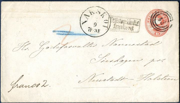 "4S stationery envelope sent from Nakskov to Sierhagen, Neustadt-Holsteen on 2 September 1866 cancelled with numeral ""43"" alongside CDS ""NAKSKOV 2/9 7F-3E"". With the rate to Northern Germany at favored 6 sk. rate for first letter rate 1.8.1865.-.31.12.1874, 2 sk. missing. First postmarked ""UTILSTRÆKKELIGT FRANKERET"" and charged ""2"" sk. in red crayon, then cancelled as sender paid the 2 sk. in cash and notation ""franco 2"". Rare mixed franking with postage paid partly in cash."