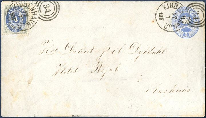 "2 (Sk.) stationery envelope sent from Copenhagen to Aarhus on 17 July (after 1875), cancelled with Duplex 34 ""KIØBENHAVN JP 17/7 10F"". Uprated with 4 øre bicolored, rare skilling/øre mixed-franking on stationery envelope. 4 øre bicolored defect perforation at lower perforation. Otherwise fine."