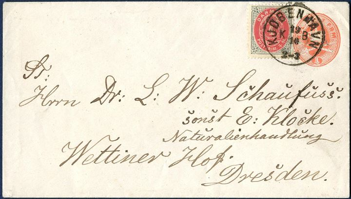"4 (sk.) stationery envelope sent from Copenhagen to Dresden on 19.10 (after 1875) uprated with 4 sk. bicolored issue tied by CDS ""KJØBENHAVN KB 19/10 2-3"". Stationery envelope without watermark."
