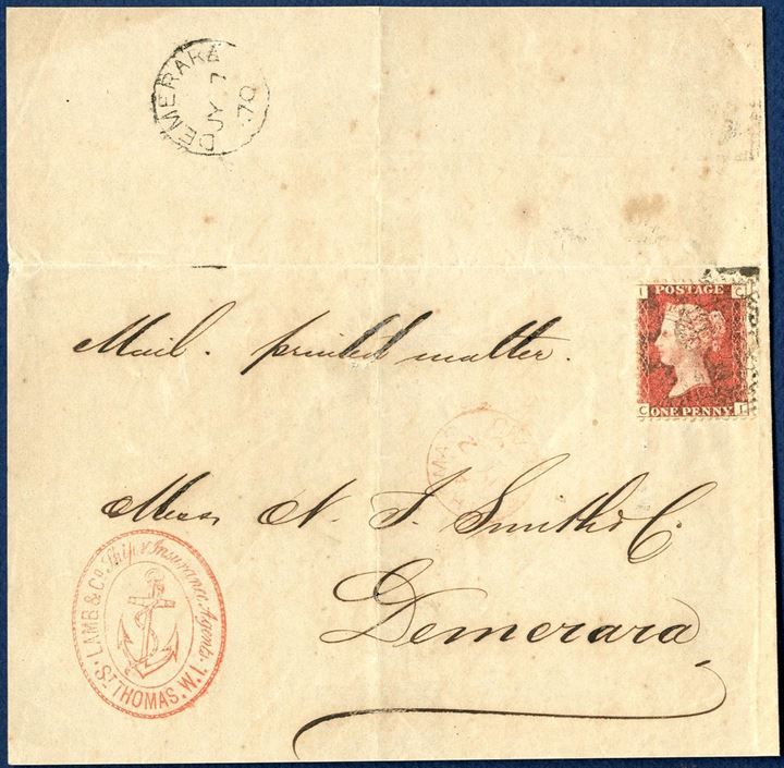 "Printed matter posted though the British post office at St. Thomas 2 July 1870 to Demerara British Guiana. GB 1d plate 125 tied by ""C51"" and datestamped ""ST. THOMAS / A / JY 2 / 70 / PAID"" 1-ring in red ink and with receiving mark ""DEMERARA / JY 7 / 70"". Sent with  British RMSPC ""ARNO"" on route 3. Front only with upper flap."