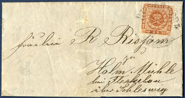"Letter sent from Bergedorf 1860 the Duchy of Schleswig, Holm Mühle near Fleckebau south of the Schlei, bearing a 4 sk. 1858 wavy-line spandrels tied by curved ""BERGEDORF"" mark. Somewhat aged and stamp short of margin at top, but still an attractive letter."