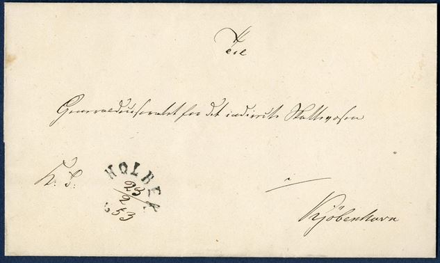 "Royal Service letter sent from Holbek to Copenhagen 23 February 1853 stamped with curved 1-line mark ""HOLBEK 18"" and ink date ""23/2 - 53"". Postmark only used 20 days in February-March 1853. Rare item."