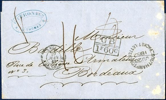 "Unpaid letter dated St. Thomas 13 June 1862 to Bordeaux, France. Loose packet letter sent with RMS ""SHANNON"" arriving and stamped ""SOUTHAMPTON / PACKET LETTER / JU28 1862"", rare on letters. London Anglo-French accounting mark ""GB // 1F60c"" and charged double 8c rate ""16"" decimes charged. Right side of envelope stained."