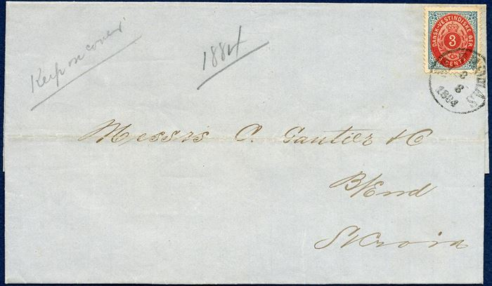 "Entire dated St. Thomas 8. August 1884 to St. Croix, bearing 3¢ IV printing tied by CDS ""ST. THOMAS 8/8 1884"" DAKA Ant. 3 ""wide O"", and receiving mark ""CHRISTIANSTED 9/8 1884"" DAKA Ant. 3 on reverse."