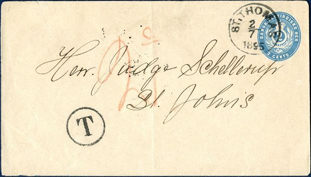 "2¢ Stationery envelope from St. Thomas 2. July 1895 to St. Jan. Envelope with watermark I-C cancelled with in St. Thomas and receiving mark ""ST. JAN 2/7 1895"" DAKA Ant. 2. Underpaid with 1¢, thus taxed and struck ""T"" and charged 2¢ by addressee. Envelope with small crease at top left and slightly visible vertical fold."
