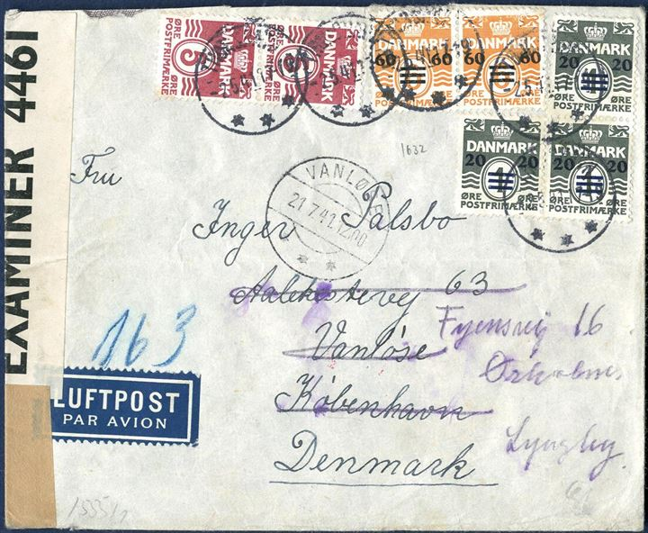 "Airmail letter from Thorshavn 2 May 1941 to Copenhagen, Denmark bearing 190 øre stamps in postage, three 20/1 øre and two 60 øre provisional issue 1941 and two 5 øre wavy-line issue, tied by cds ""THORSHAVN 2.5.41 17-19"" with receving mark ""VANLØSE 21.7.41 12,00"" struck on front. 20 øre letter rate plus 2x 85 øre airmail surcharge making 190 øre correct franking. British resealing tape ""P.C. 90 / OPENED BY / EXAMINER 4461"" and German ""Geöffnet b"" resealing tape and censormark in red. Envelope slightly cut at top."