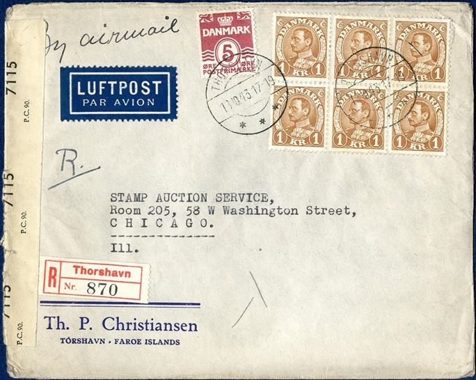 "Registered air mail letter from Thorshavn 13. October 1943 to Chicago, USA. 2nd letter rate 40 øre up to 20 grams plus 25 øre per following 20 grams, 65 øre plus 30 øre registration fee plus 510 øre for 6x 85 øre airmail surcharge for each 5 grams, total correct postage 605 øre. British censorship resealing tape ""OPENED BY / EXAMINER / 7115 / P.C.90.""."