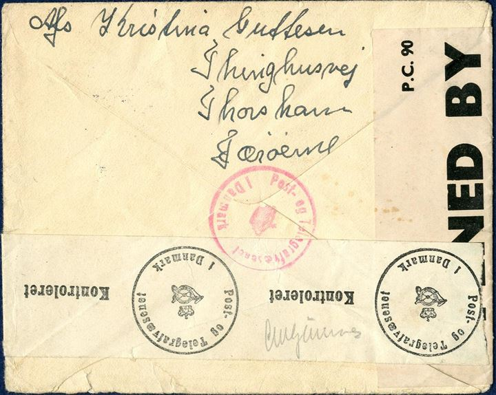 "Letter sent from Thorshavn 30. April 1941 to Copenhagen, Denmark, bearing a ""20  20""/5 øre provisional issue tied by ""THORSHAVN 30.4.1941 9-13"" cds. British resealing tape ""P.C. 90 / OPENED BY / EXAMINER 4461 and Danish resealing tape and censor mark in red, most of these letters are with German instead of Danish censorship. In Dimmalætting 16 April 1941, it was announced that mail service to Denmark for ordinary letters was open from 16. April 1941, this letter sent only 5 days after the announcement in Dimmalætting."