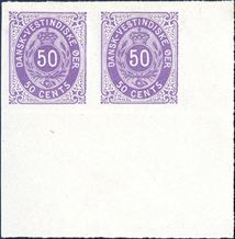 50 cents bicoloured normal frame, pos. 99-100, imperforate pair with large margins from lower right sheet corner. Proof without watermark and gum. Rare.