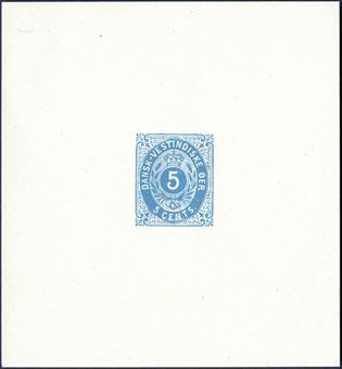 5 CENT bicolored issue (1900), frame main group 5, blue, imperforate color proof with large margins, without gum and watermark. This proof may very well have been made in preparation for the 5¢ blue Coat of Arms issued early 1900. Only recorded.