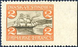 2 Francs St. Thomas Harbour, hinged, with imperforate right sheet margin. Extremely rare.