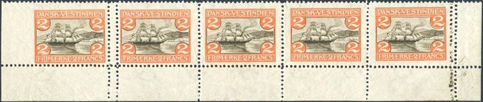 2 Francs St. Thomas Harbour, mint never hinged, strip of five with lower sheet margin, left stamp with imperforate left sheet margin, double perforation between 1st and 2nd stamp and in the right sheet margin. Extremely rare.