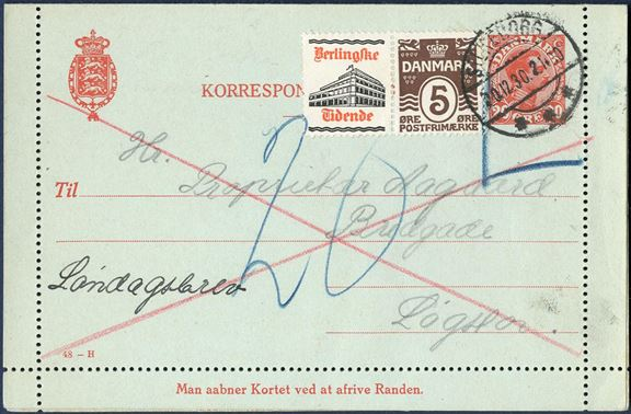 20 øre Chr. X Correspondence card additionally franked with 5 øre BERLINGSKE TIDENDE advertising stamp and sent for SUNDAY delivery. Letter rate 15 øre plus 10 øre for delivery on Sunday's, but taxed 20 øre by the addressee. Scarce combination.