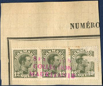 Union Postale Universelle, SPECIMEN COLLECTION MAURITANIEN – Denmark, King Christian X values 8 øre, 15 øre, 20 øre and 12 øre on cuts.