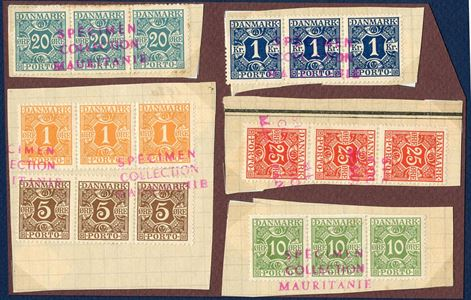 Union Postale Universelle, SPECIMEN COLLECTION MAURITANIEN – Denmark, Postage Due stamps, 1 øre, 5 øre, 10 øre, 20 øre and 1 Kr. on cuts.