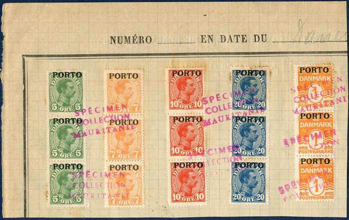 Union Postale Universelle, SPECIMEN COLLECTION MAURITANIEN – Denmark, King Christian X, Overprint PORTO, Postage Due values 5, 7, 10, 20 and 1 øre wavy line øre on cuts.