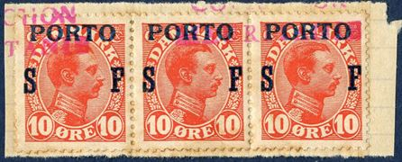Union Postale Universelle, SPECIMEN COLLECTION MAURITANIEN – Denmark, King Christian X, Overprint PORTO SF, Soldiers Stamp 10 øre strip of three on cut.