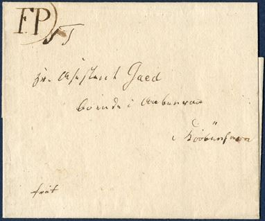 "Undated folded letter, prepaid ""frit"" sent locally within Copenhagen through the Local Foot post ca. 1808. At top left corner written a provisional ""F.P.)"", may either have been added by the foot post mailman on his route or the postmark may have been missing or mislaid, . It is considered a substitute for the Foot-post mark F.P. type II, only known example recorded, ex. Rathje collection. DAKA 2C."