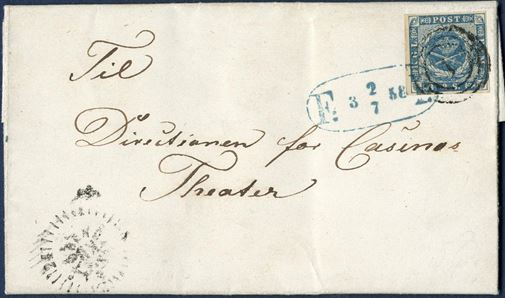 "Entire with 2 sk. 1855 issue on foot-post letter, tied by numeral 1 Copenhagen, Foot Post mark ""F:  3  2/7  58  P:"" in blue, Skilling type 6. Box letter as stamped with Compass mark KB, unusual and very fresh and attractive letter."