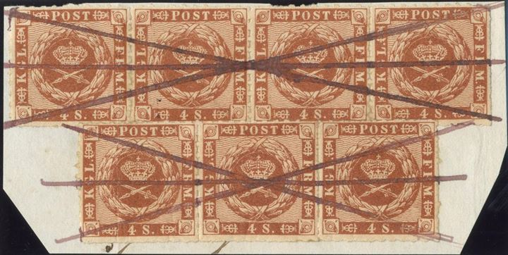 4 sk. 1863 rouletted, strip of 4 and 3 tied on piece, beautifully cancelled with purple ink crosses.