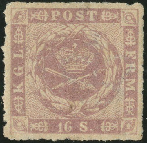 16 sk. 1863 rouletted, with full original gum, hinged, fine centering and rouletting.
