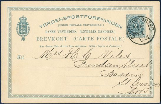 "Single postcard ""1 CENT 1901"" on 2¢ blue 5 lines, Frame Group 3F, sent from Christiansted 27 January 1902 to St. Croix. Genuine usage, rare on the provisional cards."