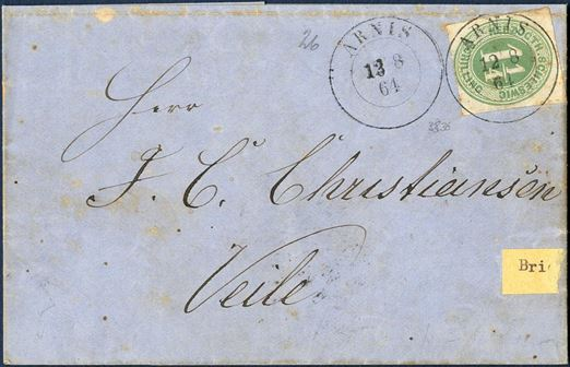 "Letter sent from Arnis to Veile 13 August 1864 bearing a 1 1/4 Sch. ""HERZOTH. SCHLESWIG"" green (Mi. 4) and tied by ""ARNIS"" Prussian two-ring mark. During the ""Overenskomstløse periode"" the postage from Schleswig to Denmark appear to remain unchanged contrary to mail to/from Holstein and Lauenburg. Rare postal document."