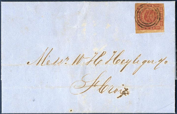 "Entire letter sent from St. Thomas 8 January 1864 to Christiansted, bearing the 3¢ imperforate yellow gum, tied by 3-ring St. Thomas, on reverse CDS ""ST: THOMAS / 8/1 1864"". Large margins on two sides, excellent condition."