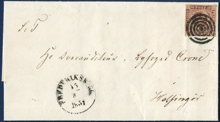"Entire sent from Frederiksborg 15 May 1851 to Helsingør, bearing a 4 RBS Ferslew plate I, pos. 30 tied by mute cancel. Antiqua Frederiksbrog appears as month is a ""3"" instead of 5."
