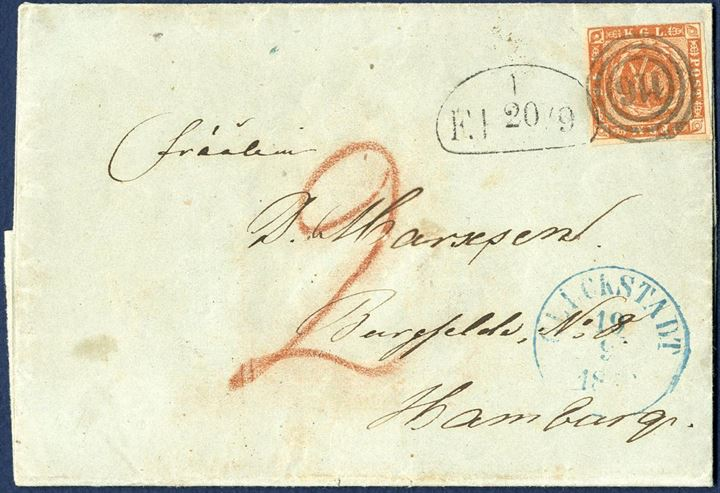 "Entire sent from Glückstadt 19 September 1856 to Hamburg, bearing a 4 sk. 1854 dotted spandrels III printing tied by numeral ""116"" Glückstadt in bluish grey ink, blue antiqua III ""GLÜCKSTADT 19/9 1856"" and stamped Hamburg Stadt Post Amt ""F.P. 20/9"" and KDOPA Hamburg on reverse. Local Foot Post fee ""2"" schilled noted in red crayon due by the addressee. The stamp is with one close margin."