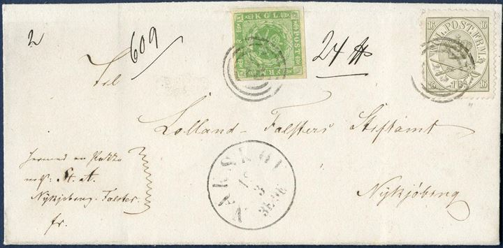 Parcel letter sent from Nakskov (1867 ? ) to Nykjøbing, weighing 24  and list no. 609, beraing a 8 sk. 1857 dotted spandrels and 16 sk. Coat-of-Arms issue II. printing (June 1866), tied by numeral 43 and Nakskov CDS. 8 sk. with large margins, 16 sk. with small repair on NV-corner.