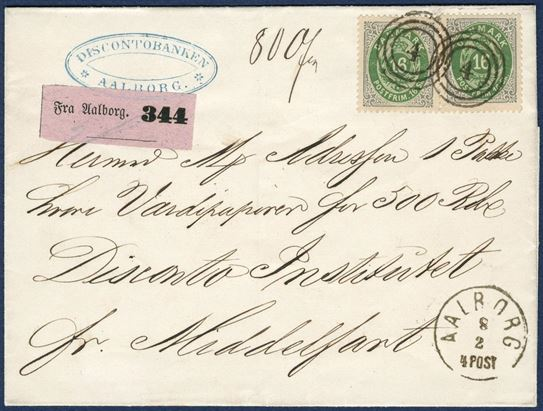 "Value parcel letter from Aalborg 8 February 1871-72 to Middelfart. Two 16 sk. I. printing tied by numeral ""4"", CDS Lapidar ""AALBORG 8/2 4 POST"". Lilac value parcel label ""Fra Aalborg. 344"" for 500 Rdl., weighing 80 kvint. Parcel 250-500 gr. = 16 sk., fee value parcel 8 sk. plus insurance 100-1000 RD = 8 sk., total 32 sk. Correct franking. Superb looking, but right stamp a horizontal crease at lower left corner."