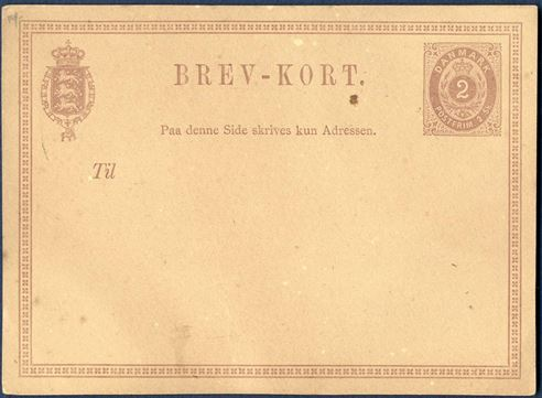 Essay of 2 sk. essay in purple color with crosses in the frame. Size 118 x 86 mm. BREV-KORT 42 mm wide, paper somewhat discolored and small imperfections on front.