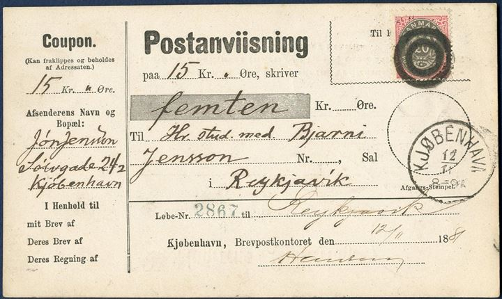 Money order with 15 kr. sent from Copenhagen 12 November 1881 to Reykjavik, bearing a 20 øre bicolored VI printing tied by 2-ring Copenhagen Parcel Post cancel, on complete Postanvisning form.
