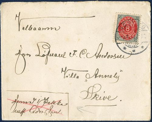 Ordinary envelope intended for use as parcel letter, sent from Næstved 3 April 1900 to Skive.