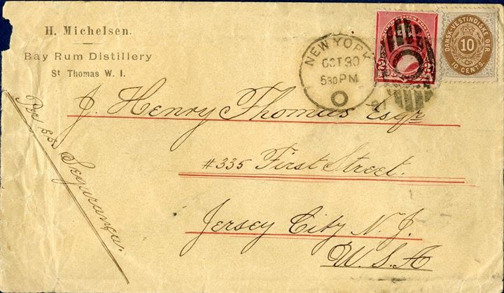 "Letter sent from St. Thomas to Jersey City 30 October 1891 bearing a 10 cents V printing and a 2c US tying the US stamp to the envelope and not taking into account the 10 cents which were paying the rate to US. Shipped aboard the steamer s.s. ""Esqurança"". Rare combination of US and DWI stamps on envelope together, some wrinckles on the left on envelope."