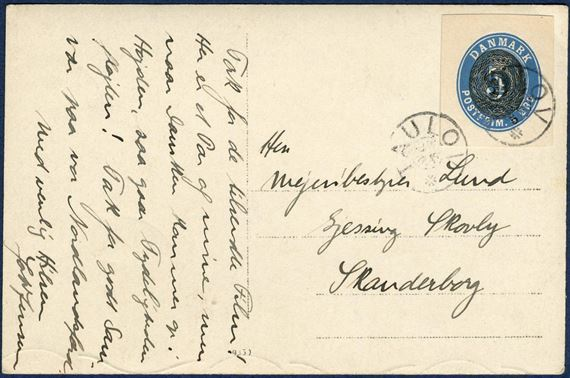 Postcard sent from Taulov ca. 1904 to Skanderborg, franked with 5 øre/4 øre provisional stationery envelope cut-out tied by TAULOV star-cancel.
