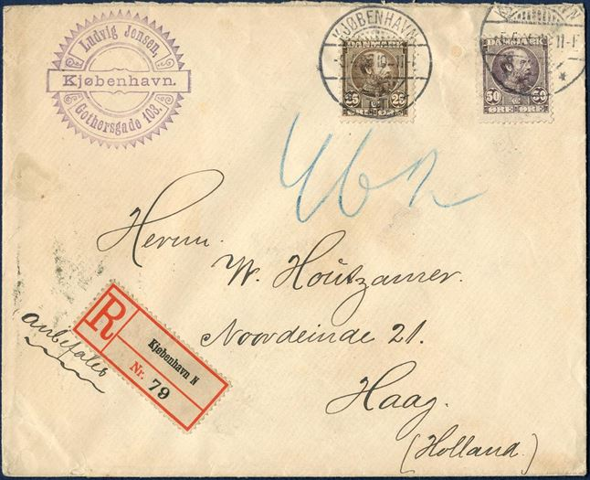 Registered letter sent from Coopenhagen 5 April 1906 to Haag, Netherlands. 25 øre brown and 50 øre greyish lilac King Christian IX issue tied by CDS Copenhagen. Registration 15 øre, 3rd rate 3x 20 øre per 15 grams = 75 øre correct rate.