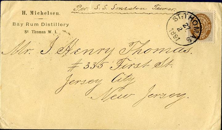 "Letter sent from St. Thomas to Jersey City 27 February 1891 bearing a 10 cents V printing tied by ""St. Thomas"" CDS and NY transit and Jersey City arrival mark on reverse. Shipped aboard the steamer s.s. ""Smeaton Tower""."