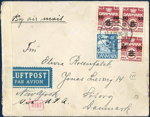 "Airmail letter from Vaag via Lissabon/New York to 12 March 1941. This letter is mailed prior to the very short period when London allowed mail to Denmark from April 4 to May 29, 1941. Franked with three 50/5 øre provisional 1st printing and 40 øre adhesive. Rate to Denmark 20 øre, 2x 85 øre air mail surcharge per 5 gram = 190 øre. British censor strip ""OPENED BY / EXAMINER 4466"" and German München censor strip."