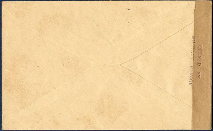 "Letter from Midvaag to Kollefjord via Thorshavn 11 August 1942, bearing a 20 øre caravel issue tied by removed star cancel ""MIDVAAG"". Local military censorship by the British forces sealed with neutral brown censorstrip and stamped with two-line OPENED BY / MILITARY CENSOR."