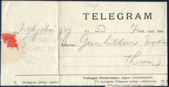 "Telegram from Nykjøbing Sjælland and sent expedited in Thorshavn 5 October 1929. Stamped with oval cachet ""DET STORE NORDISKE TELEGRAF-SELSKAB / THORSHAVN / 5 OKT 1929""."