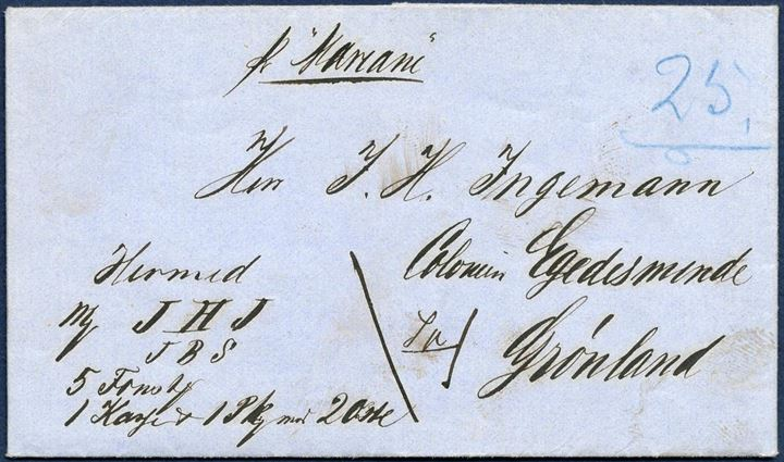 "Parcel letter sent from Copenhagen 10 May 1865 to Egedesminde, Greenland. Sent with Briggen ""Mariane"" which was in Greenland voyages from 1839 to 1869. The ship ran aground 7 May 1869 on the rocks the fake Kookøer 4 mil north of Nuuk, no one died, but wrecked. The letter is complete, including St. Croix Rhum. Noted ""25"" in blue crayon, the number on the ship mail list. Beautifully preserved."