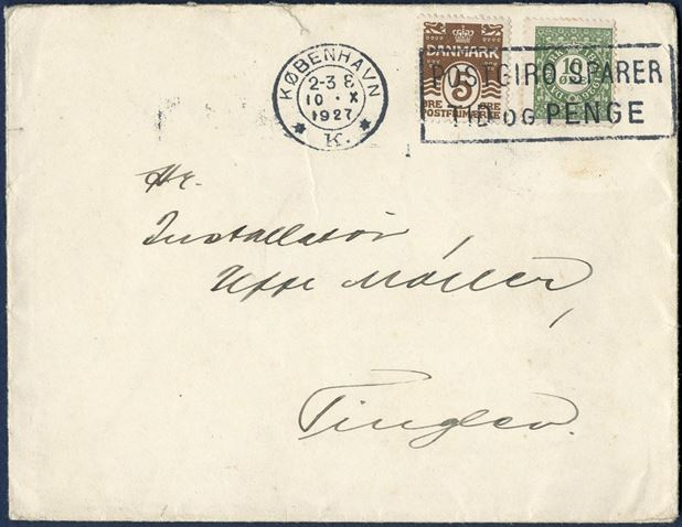 "Letter sent from Greenland to Tinglev, received in Copenhagen from Greenland onboard s/s ""DISKO"" and postmarked ""KØBENHAVN K / 10 X 1927"". Adhesives 5 øre wavy-line and 10 øre 75th Anniversary of the First Danish Stamp issue. GRØNLANDS STYRELSE, DAKA 21."