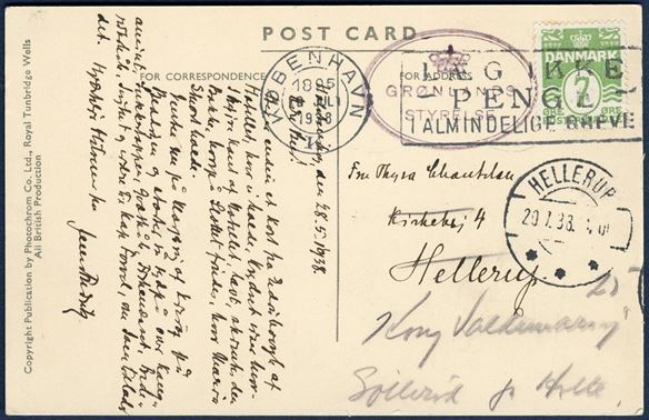 "Picture postcard sent from Holsteinsborg 28 May 1938 to Hellerup, with 7 øre yellowgreen wavy-line adhesive tied by Copenhagen TMS 19 July 1938. Transit cachet oval ""GRØNLANDS / STYRELSE"" DAKA 24 in purple."