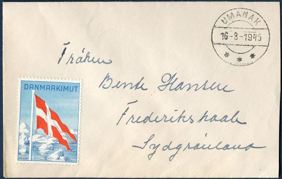 Domestic letter free of postage, sent from Umanak to Frederikshaab 16 August 1945. Danmarkimut adhesive affixed on front and back.