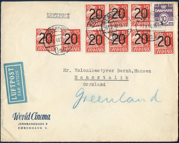 "UNCENSORED Airmail letter from Copenhagen 11 September 1940 to Nanortalik, Greenland. Nine 20/15 øre provisional and a 10 øre wavy-line tied by CDS KØBENHAVN 11.9.1940. Rate to Greenland 20 øre, 2x 85 øre air mail surcharge per 5 gram = 190 øre. Passed through the censorship witihout being censored, as the received was a government official at the Colony Nanortalik, postal routing instruction ""Greenland"" in blue crayon. Few such letters known to Greenland without any censor markings."